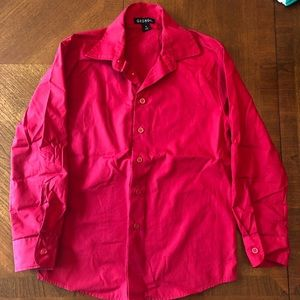 Boys Red Long Sleeve Button Down